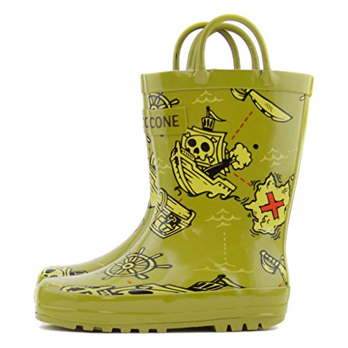 Toddler Pirate Boots (Lone Cone Children's Waterproof Rubber Rain Boots in Fun Patterns with Easy-On Handles Simple For Kids (Pirate Boot-y Boots, 11 M US Little Kid))