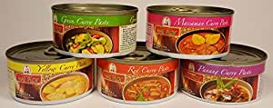 Mae Ploy Curry Paste Variety Pack Red, Yellow, Green, Panang, and Massaman Curries Bundle of 5 (114g / 4oz each)