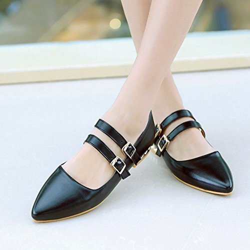 Strap Fashion Pumps Women Black Pointed KemeKiss Toe 5Xvwx5H