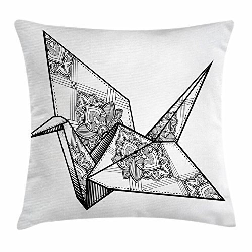 JOQSI Art Throw Pillow Cushion Cover, Origami Style Crane Bird Design Hand Drawn Monochrome Far East Asia Folklore Motif, Decorative Square Accent Pillow Case, 18 X 18 Inches, Black and White