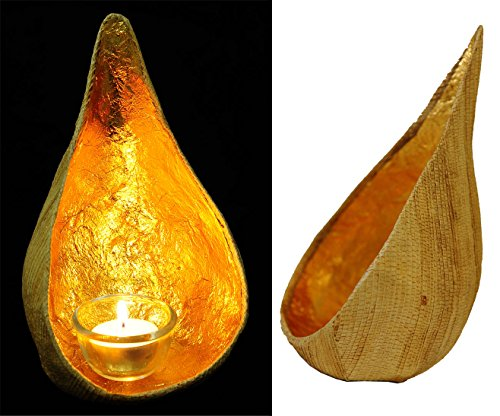 (Exotic Elegance Asian Water Drop Hanging Candle Holder From Natural Banana and Golden Leaf.)