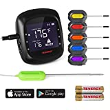 Tenergy Solis Digital Meat Thermometer, APP Controlled Wireless Bluetooth Smart BBQ Thermometer w/6 Stainless Steel Probes, Large LCD Display, Carrying Case, Cooking Thermometer for Grill & Smoker
