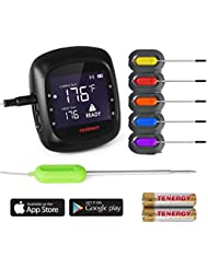 Tenergy Solis Digital Meat Thermometer, APP Controlled Wireless Bluetooth Smart BBQ Thermometer with 6 Stainless Steel Probes and Large LCD Display, Cooking Thermometer for Grill and Smoker