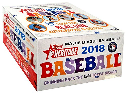 Topps Heritage Baseball Cards - 2018 Topps Heritage Baseball Retail Box (24 Packs/Box,9 Cards/Pack: 1969 Design, Loaded with Rookies Inserts)