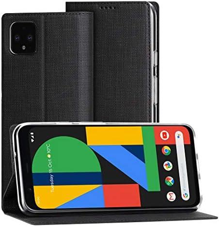 Foluu Google Pixel 4 ケース 手帳型 5.7インチ マグネット 合革 スタンド カード収納 耐衝撃 PUレザー 全面保護 おしゃれ グーグルピクセル 4 カバー スマホケース (Pixel 4 黒)