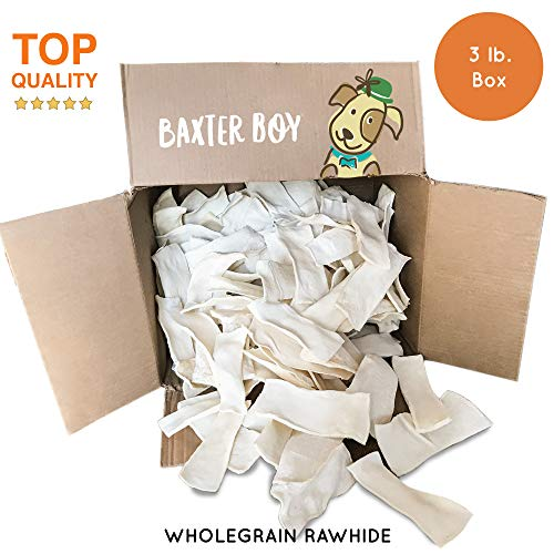Baxter Boy Premium Rawhide Chips for Dogs Extra Thick Cut Natural Long Lasting Chews Treat – (3 Pounds)
