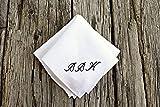 White Irish Linen Handkerchief with Hand Embroidered Monogram Initials