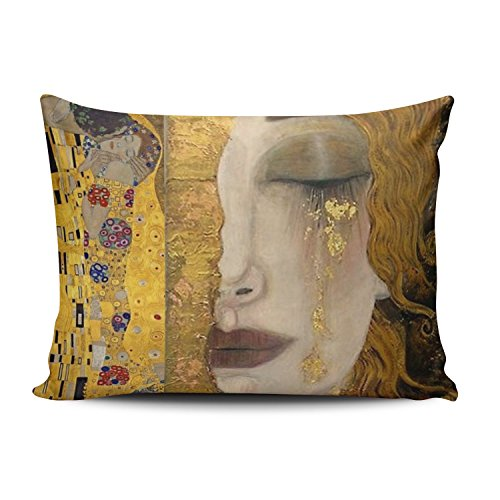 Hoooottle Custom Luxury Funny Colorful The Kiss By Gustav Klimt Boudoir Pillowcase Rectangle Zippered One Side Printed 12x20 Inches Throw Pillow Case Cushion Cover