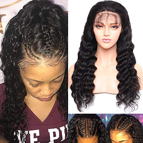 Pre Plucked 360 Lace Frontal Wig 100% Virgin Brazilian Human Hair Glueless Lace Front Wig With Baby Hair Water Wave For Women 16inch 150% Density 1B Black ()