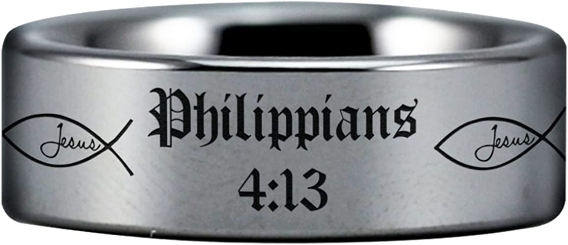 Fine Jewelry Designed For Maximum Comfort Fit For Men And Women Use Wedding Band And Anniversary Ring Friends of Irony Tungsten Carbide Philippians 4:13 Ring 8mm Perfect Gift