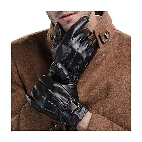 Hommes Noir Hiver Gants en cuir PU Driving Gants écran tactile