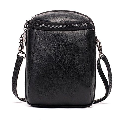 JOSEKO Crossbody Bag for Women, PU Leather Round Little Phone Bag Casual Bucket Bag Vintage Travel Bag for Women Girls Ladies Black