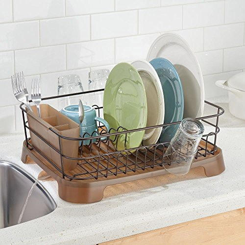 mDesign Large Kitchen Countertop, Sink Dish Drying Rack with Removable Cutlery Tray and Drainboard with Adjustable Swivel Spout - 3 Pieces, Bronze Wire/Amber Plastic Cutlery Caddy and Drainboard - smallkitchenideas.us