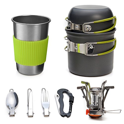 Odoland Camping Cookware Kit Lightweight Stove and Stainless Steel Cup, Fork Kit and Multi-functional Carabiner, Canister Stand Tripod for Backpacking, Outdoor Camping Hiking and Picnic