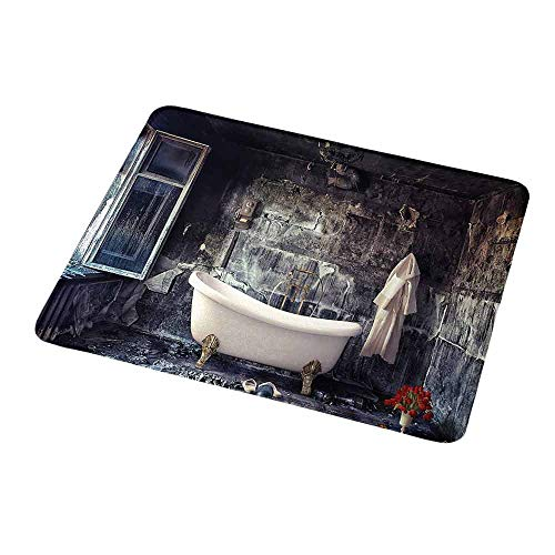 Non-Slip Rubber Mousepad Antique,Bathtub in Old Room Bathroom Fresh Flower Bouquet Vase Victorian Retro Style,White Brown Grey,Personality Desings Gaming Mouse Pad 9.8