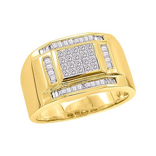 KATARINA Baguette and Princess Cut Diamond Men's Ring in 14K Yellow Gold (3/4 cttw, G-H, VS2-SI1) (Size-11.25)