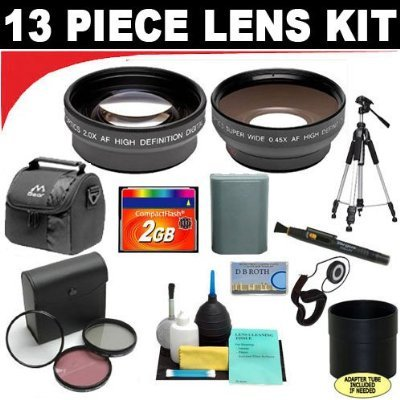 2x Digital Telephoto Professional Series Lens + 0.5x Digital Wide Angle Macro Professional Series Lens + 3 Piece Digital Camera Filter Kit + Lens Adapter Tube (If Needed) + CompactFlash 2GB Memory Card + Deluxe DB ROTH Super Savings Accessory Kit For The  by Digital Concepts