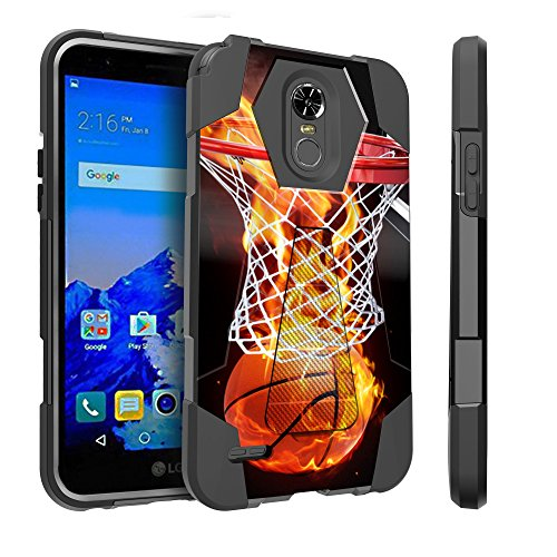 LG Stylo 3 Case | Stylo 3 Plus Case [Traveler Series] Combat Shockproof Two Layer Kickstand Cover by Untouchble - Basketball Fire - Basketball Case Pack