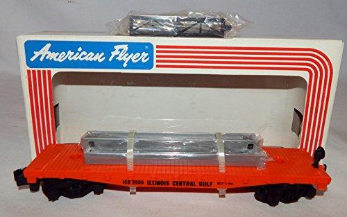 American Flyer 6-48505 Illinois Central Gulf Flat Car W/Bulkheads ICG S gauge