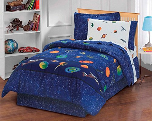 6 Piece Boys Navy Outer Space Comforter Twin Set, All Over Planets Satellites Stars Comet Themed, Beautiful Galaxy Star Bedding, Planet Earth Saturn Mars Milky Way, Blue Green Orange Yellow Red
