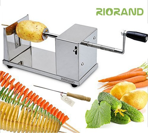 Potato Slicer (RioRand Manual Stainless Steel Twisted Potato Slicer Spiral Vegetable Cutter French Fry)
