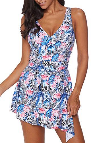 momolove Women's One-Piece Swim Dresses Modest Swimsuit Side Slit Skirted Swimwear Zebra L