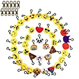 Tomkity 40 Pack Kid Party Favor Emoji Keychains and 10 Copper Key Chain Decorations, Kids Party Supplies Favors