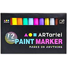 ARTarlei Paint Markers   Medium Point,Safe To Kids, 12 Vibrant Oil-Based Paint Pens for Any Surface - Canvas, Glass, Stone,Ceramic,Metal, Wood, Rubber,Plastic, Paper, Leather, Clay
