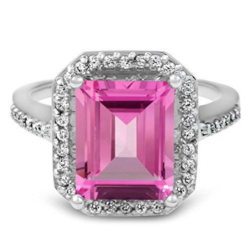 4 1/2ct Pink Topaz SWAROVSKI & Diamond Vintage Halo Engagement Ring 14K White Gold - Size 4
