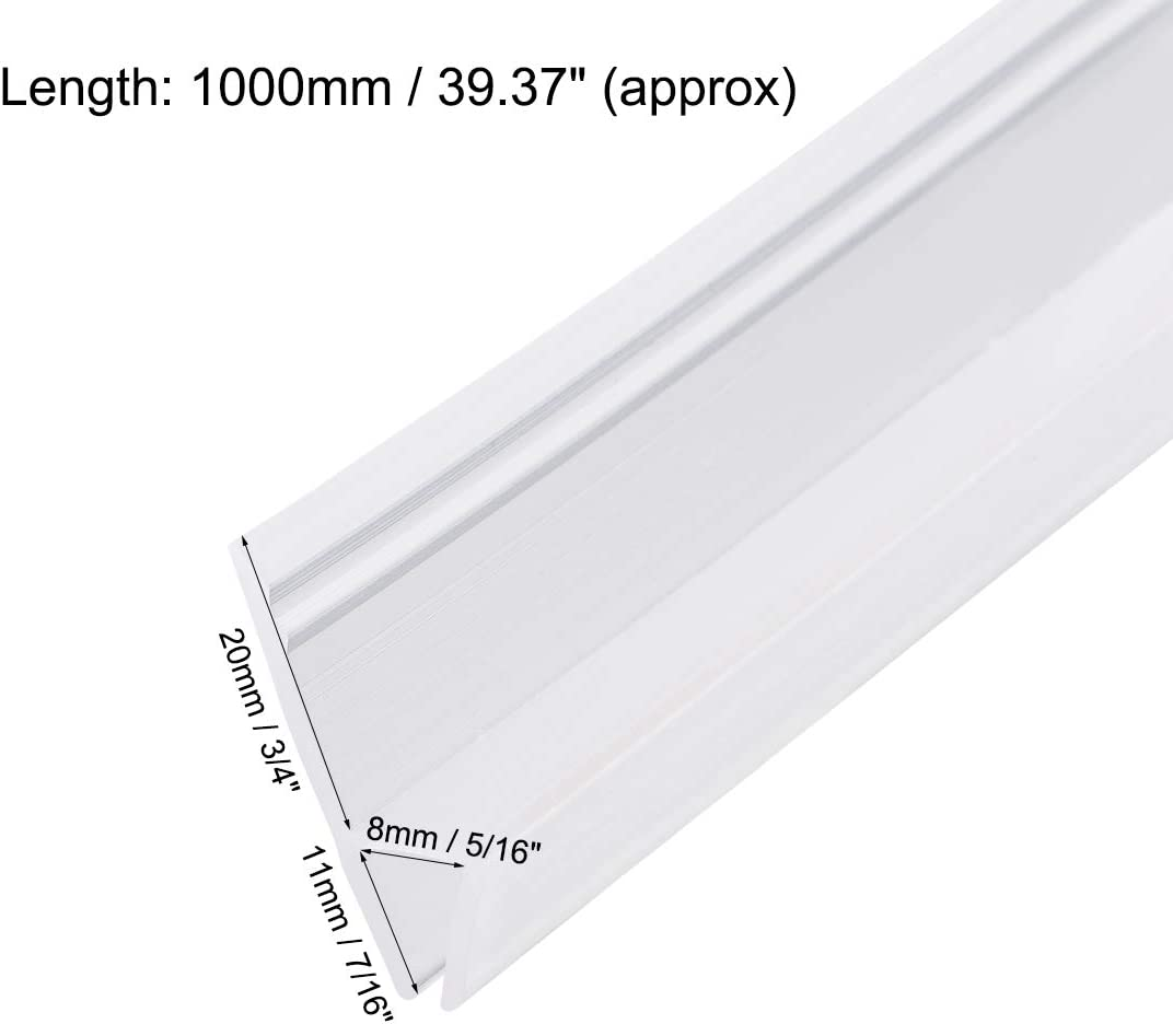 Door Bottom Side Seal Strip h-Type with 3//8-Inch 10mm 1000mm Drip Rail Glass x 39.37-Inch 3//8-Inch 10mm uxcell Frameless Glass Shower Door Sweep Length