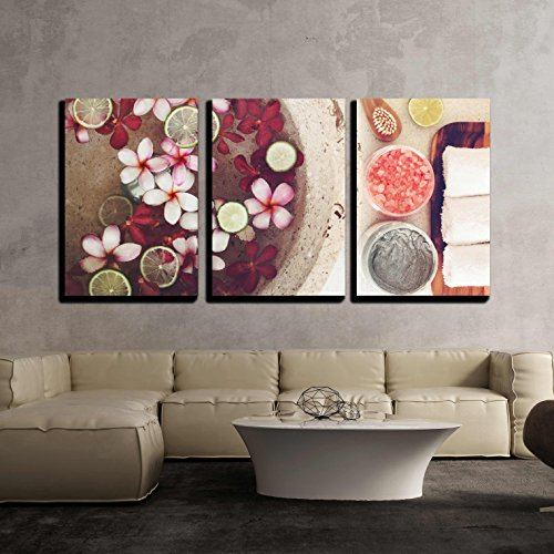 wall26 - 3 Piece Canvas Wall Art - Foot Bath in Bowl with Lime and Tropical Flowers, Spa Pedicure Treatment, Top View - Modern Home Decor Stretched and Framed Ready to Hang - 16