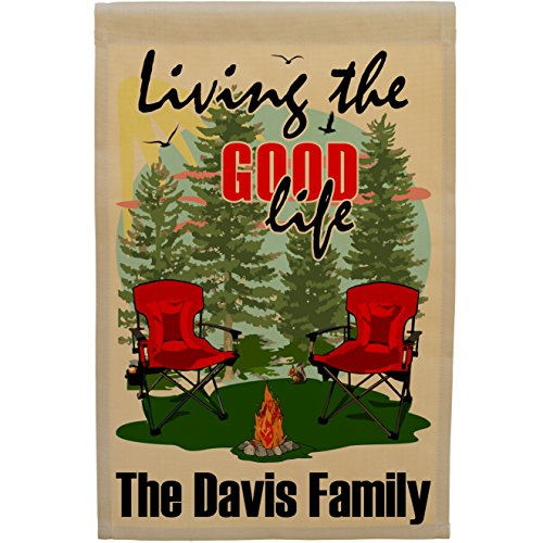 Happy Camper World Living The Good Life Personalized Weatherproof Campsite Flag (Tan Fabric, Red) ()