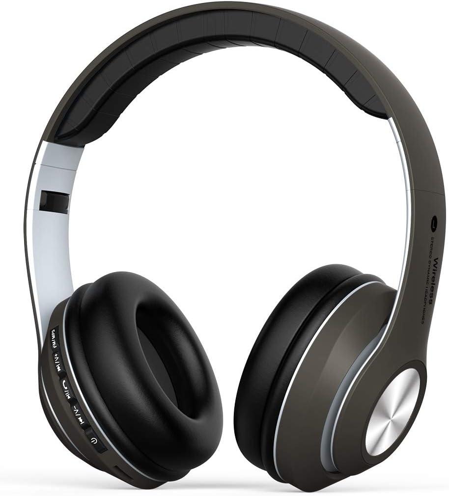 Auriculares Diadema, Cascos Bluetooth Inalambricos Plegable con Micrófono, Auriculare Cerrados Over-Ear, Hi-Fi Sonido Estéreo, Manos Libres, PC, Móviles,Android- Marrón