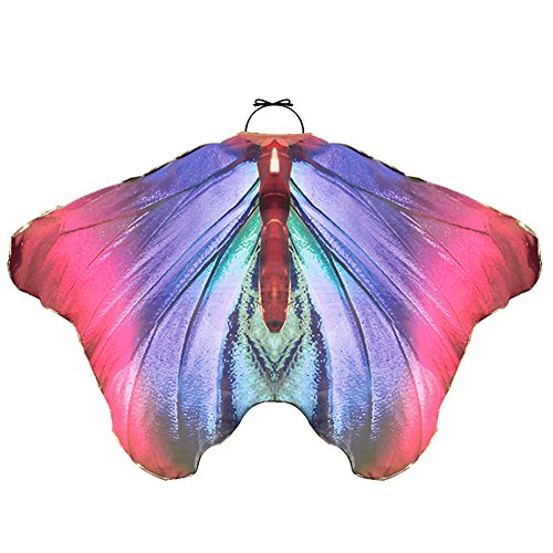 LIVEBOX Boys Girls Monarch Butterfly Wings Dress Up Shawl Cape Scarf Kids Costume Accessary (Rosy-Blue)