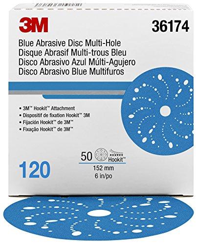Hookit 36174 Blue Abrasive Disc (Multi-hole 6 in 120 grade 50 discs per box) by Hookit