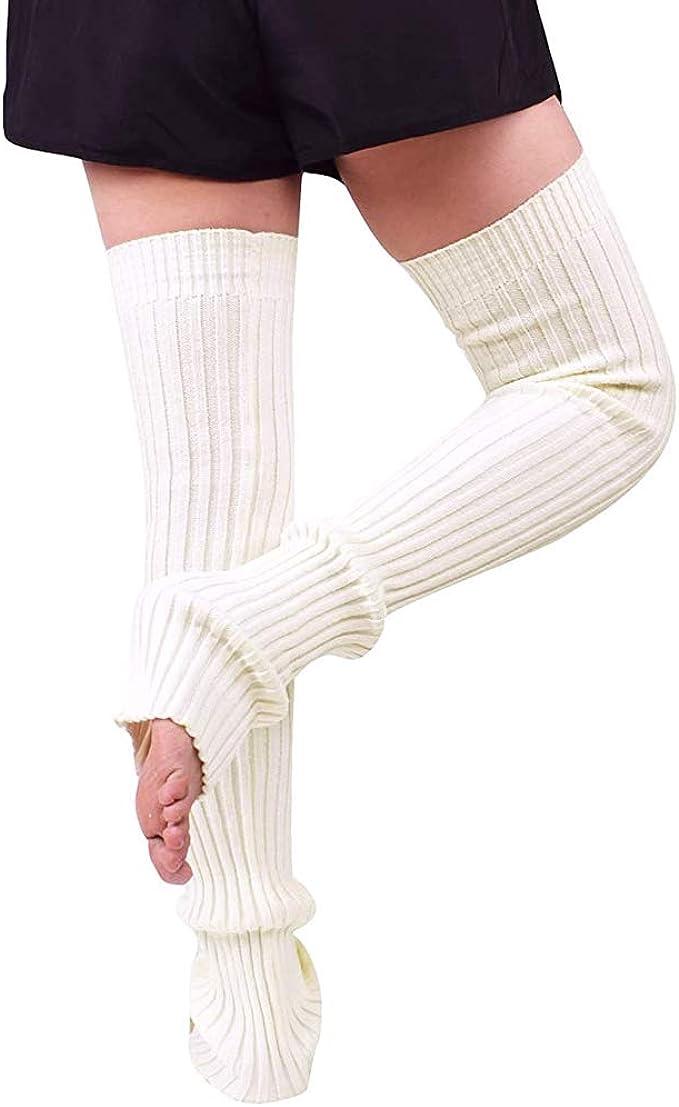 Donasty Solide Jambi/ères Gu/être Femmes Filles Hiver Chaud Tricot/é Gu/êtres Jambi/ère Chausettes Longue en Genou Leg Warmer Legging A11