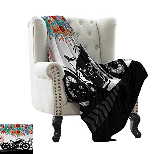 RenteriaDecor Manly Decor,Photo Blanket Motorcycle and Abstract Circle