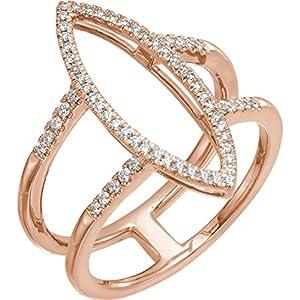 14k Rose Gold 1/4 CTW Diamond Geometric Ring - Size 7
