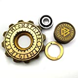 CMSX The Viking Runes of Carving Brass Metal Gear Hand Spinner(606 Ceramic Bearing )EDC Fidget Toys