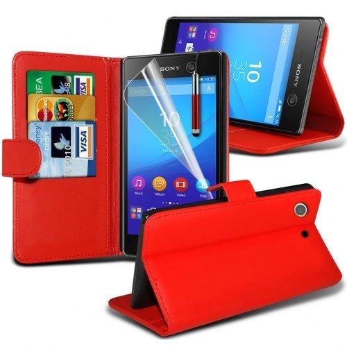 Sony Xperia M5 Cubierta del caso con cuero (Rojo) Plus de regalo libre, Protector de pantalla y un lápiz óptico, Solicitar ahora mejor caja del teléfono Valorado en Amazon! By FinestPhoneCases