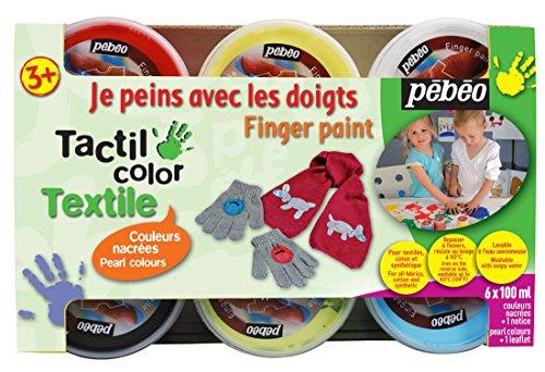 Pebeo 634190 Textilfingermalfarbe Tactilcolor 6-er Set 100 ml, perlmutt und metallfarben