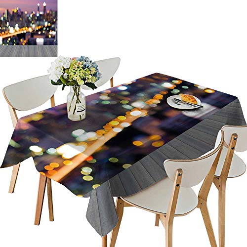 UHOO2018 Square/Rectangle Indoor and Outdoor Tablecloth Open Wooden Floor blurre Motion City traffi Lights Bokeh at Busy Hours Restaurant Party,50 x111inch ()