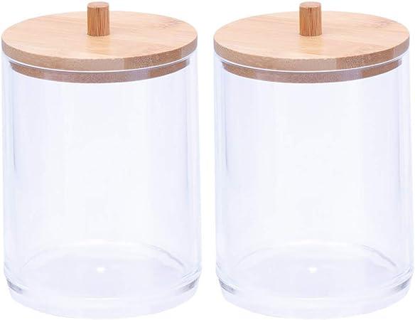 Cabilock - Organizador de hisopos de algodón acrílico para encimera, 2 unidades, dispensador cilíndrico, con tapa de bambú para baño y sales, transparente: Amazon.es: Hogar