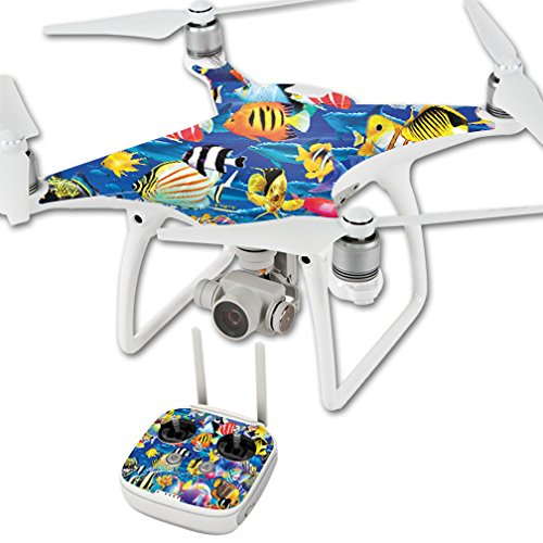MightySkins Skin for DJI Phantom 4 Quadcopter Drone – Tropical Fish | Protective, Durable, and Unique Vinyl Decal wrap Cover | Easy to Apply, Remove, and Change Styles | Made in The USA