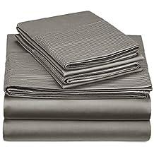 Pinzon 400-Thread-Count Egyptian Cotton Sateen Pleated Hem Sheet Set - King, Sterling