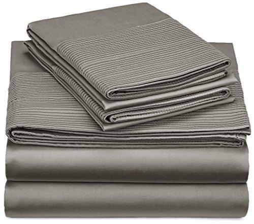 Pinzon 400-Thread-Count Egyptian Cotton Sateen Pleated Hem Sheet Set - Queen, Sterling -