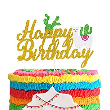 Llama Cactus Birthday Cake Topper Mexican Fiesta Themed for Baby Shower  Girls Boys Birthday Party