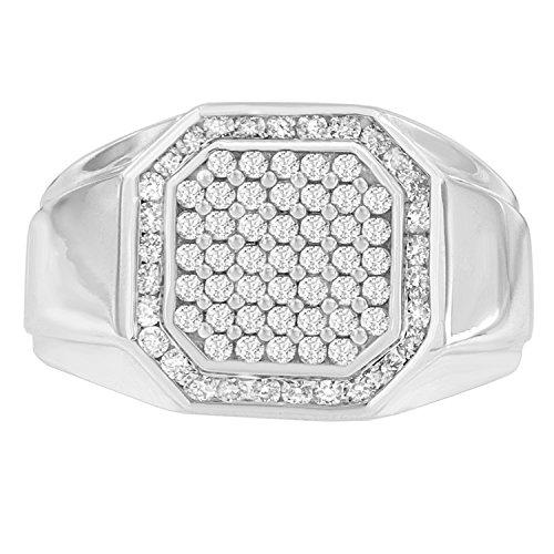 14K White Gold Diamond Pentagon Shaped Men's Ring (1.00 cttw, H-I Color, I1-I2 - Shaped Pentagon