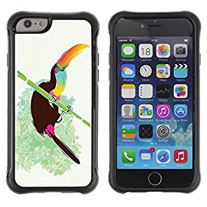 Hybrid Anti-Shock Defend Case for Apple iPhone 6 4.7 Inch / Cool Neon Bird On Bamboo