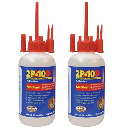 FastCap 2P-10 Professional Medium 10 oz Wood Formula Super Glue Adhesive, 2-Pack ()